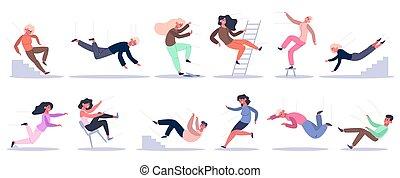 characters., 运气, 下来, 矢量, 滑落, 绊倒, 高度, 放置, 人们。, 梯子, 落下, 坏, 人们, 描述, 楼梯