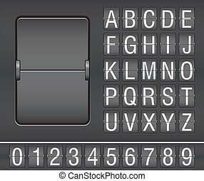 characters and numbers on mechanical scoreboard - vector illustration