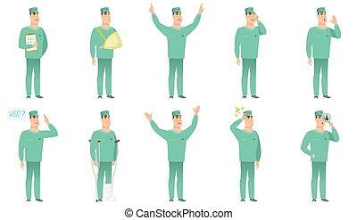 characters., chirurgien, vecteur, ensemble