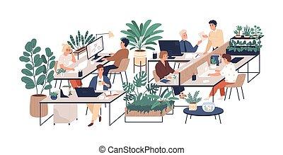characters., colleghi lavoro, verde, corporativo,...