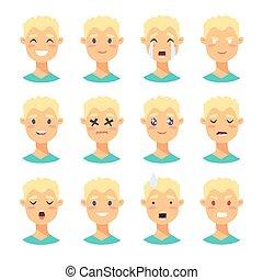 characters., ensemble, mâle, emoji