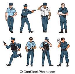 characters., ensemble, vecteur, policier