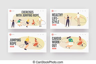 Characters Exercising with Jump Rope Landing Page Template Set. Summertime Recreation, Outdoor or Indoor Activity