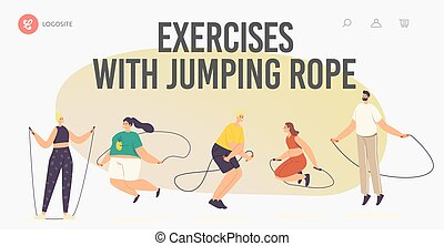 Characters Exercising with Jump Rope Landing Page Template. Summertime Recreation, Outdoor or Indoor Active Sparetime