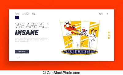 Characters Extremal Sport Experience and Recreation Spare Time Landing Page Template. Couple Hold Hands Flying in Wind Turbine. Skydiving Hobby, Free Fall Aerobatic. Linear People Vector Illustration