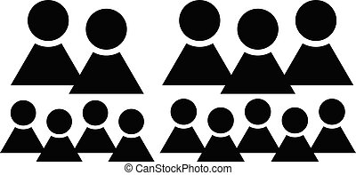Characters, figuers symbol. Group with different number of members