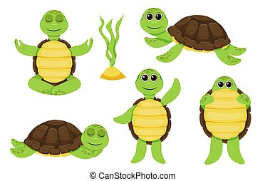 Characters funny turtle baby characters set