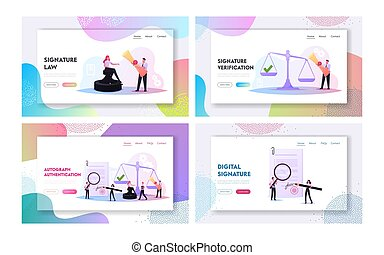 Characters Get Professional Service for Signature Authenticity Landing Page Template Set. Tiny People Visit Lawyer Office for Signing Documents, Huge Scales, Stamp. Cartoon People Vector Illustration