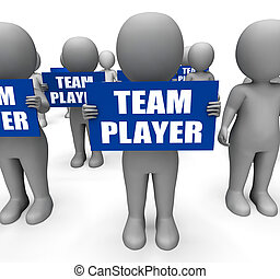 Characters Holding Team Player Signs Show Teamwork Or...
