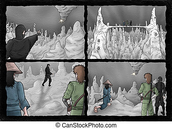 characters in dungeon scene illustration