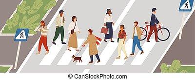 characters., members., 女性, illustration., 漫画, 都市, concept., 横断歩道, マレ, 通り, ライフスタイル, ベクトル, 共同体, 歩行者, 都市, idea., multiethnic, 殺到, 平ら, 人々, 時間, 交差