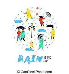 Characters People Walking in the Rain. Cartoons in Raincoats with Umbrella. Autumn Rainy Weather, Fall Season. Vector illustration