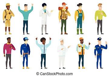 characters., professions, vecteur, ensemble