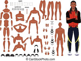 characters set for animation. parts of body - Stylized man...