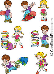 characters., skolbarn