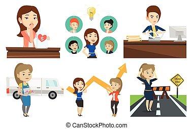 characters., vecteur, ensemble, business