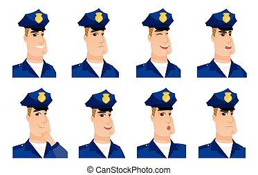 characters., vecteur, ensemble, policier