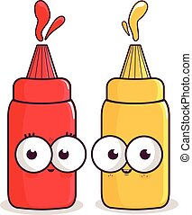 characters., vecteur, moutarde, illustration, ketchup