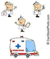characters-vector, c, dessin animé, médecins