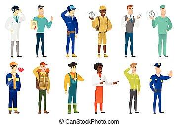 characters., zawody, wektor, komplet