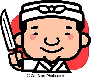 charakter, šikovný, talisman, šťastný, majetek, vrchní kuchař, karikatura, -, nůž, usmívaní, japonština, vektor, ilustrace