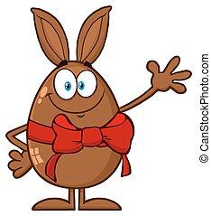 charakter, pozdrav, čokoláda, vlnitost, červeň, králík, usmívaní, talisman, vejce, karikatura, lem, satý