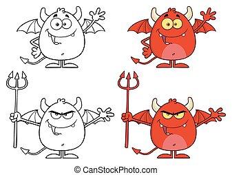 charakter, rozhněvaný, ďábel, vybírání