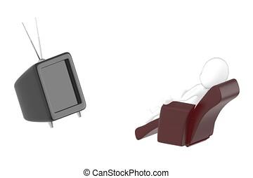 charakter, voják, televize, dívaní, pohovka, 3, ležící