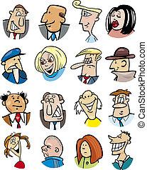 charaktere, karikatur, gefuehle, leute
