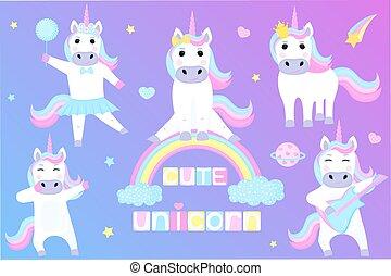 charaktere, rainbow., karikatur, tanzen, unicorns., satz, spielende , sitzen, lustiges, gitarre