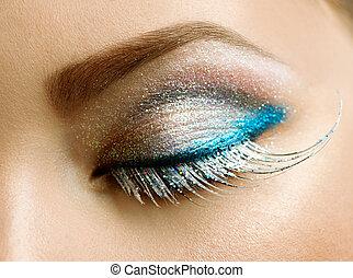 charakteryzacja, święto, oczy, piękny