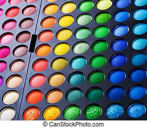 charakteryzacja, barwny, makijaż, palette., komplet, eyeshadow