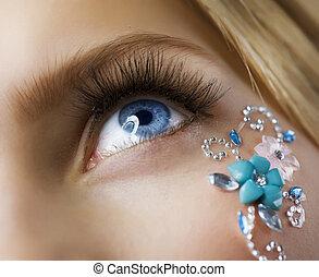 charakteryzacja, closeup, makeup., twórczy, oko