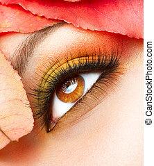 charakteryzacja, closeup, makeup., upadek, jesień