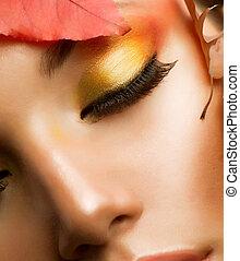 charakteryzacja, closeup, profesjonalny, makeup., upadek, jesień