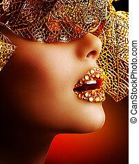 charakteryzacja, luksus, profesjonalny, makeup., święto, złoty, piękny