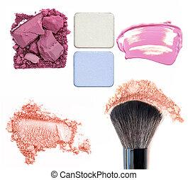 charakteryzacja, makeup., fundacja, eyeshadows, set., tło, odizolowany, collage., biały