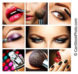 charakteryzacja, profesjonalny, details., makijaż, collage., makeover