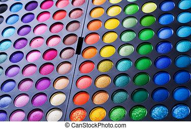 charakteryzacja, profesjonalny, set., paleta, multicolor, eyeshadow