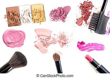 charakteryzacja, tusz do rzęs, eyeliner, róż, szminka, makeup., eyeshadows, fundacja, set., tło, odizolowany, collage., lipgloss, biały
