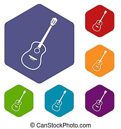 Charango icons set hexagon