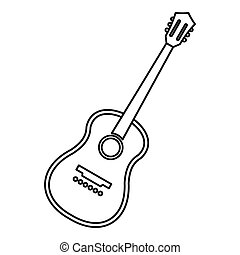 Charango stringed acoustic instrument icon. Outline...