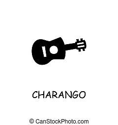 charango, vector, plat, pictogram