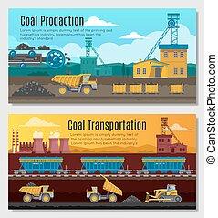 charbon, bannières, production, ensemble