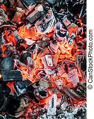 charbon, brûlant