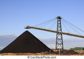 charbon, chargement, machinerie