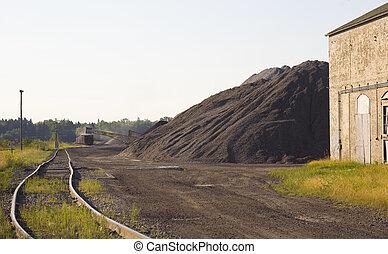 charbon, chargement, yard barre