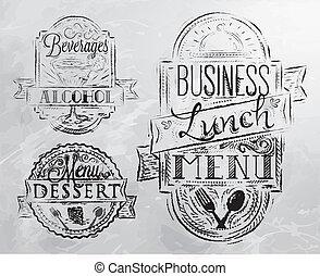 charbon, déjeuner, éléments, business