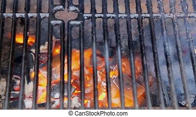 charbon de bois, autour de, brûlé, foyer sélectif, morceaux, foyer, parties, flamme, orange-colored, lueur