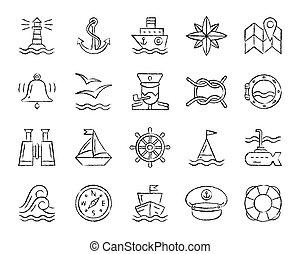 charbon de bois, dessiner, ensemble, icônes, vecteur, ligne, marin